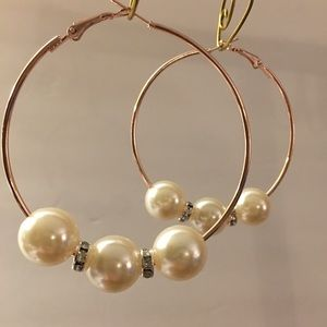 Rose gold hoops with pearls and rhinestone spacers
